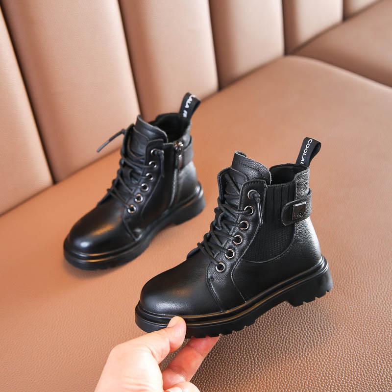 Kış 2020 Yeni Çocuk Çizmeler Hakiki Deri Kızlar Çizmeler Çocuk Ayakkabı Erkek Ayakkabı Kızlar Ayakkabı Erkek Çizmeler Martin Boot Boys Ayak Bileği Boot