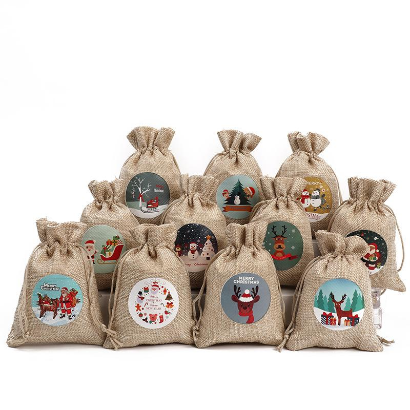 2020 santa sacks 10*14cm Cute Candy Gift christmas linen bag snowman santa claus deer christmas ornaments pendants jewelry storage bag