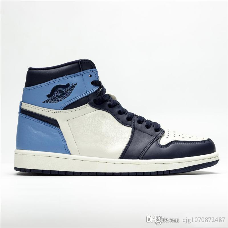 En Yeni Otantik 1 Yüksek OG UNC Deri Obsidian 1S Erkekler Basketbol Ayakkabı Mavi Retro Mans Spor Spor ayakkabılar Orijinal Kutusu ile 555088-140