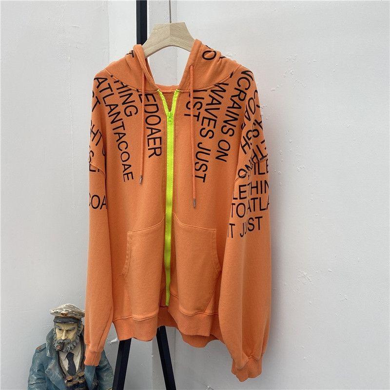 AE10 new Korean style large size women's hooded sweater loose lazy style mid-length Coat sweater zipper zipper letter cardigan coat xs5Ya xs
