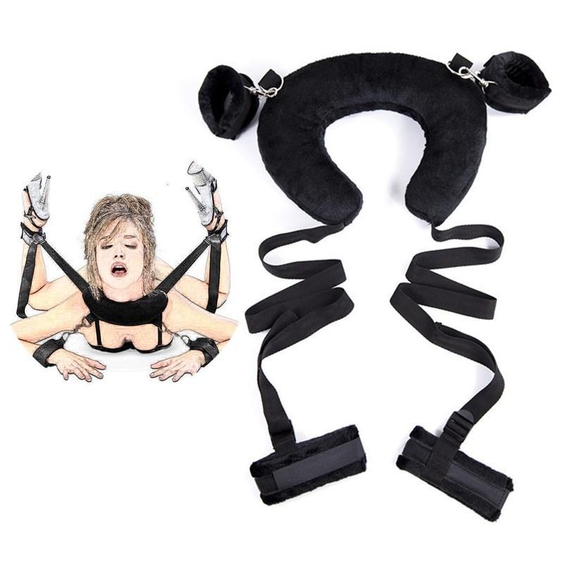 Strapon postura Assist herramientas de juguete abierto de piernas esposas BDSM Bondage tobillo Cuerpo Cuello protectores acolchados puños adultos del sexo para las mujeres de los hombres T200909