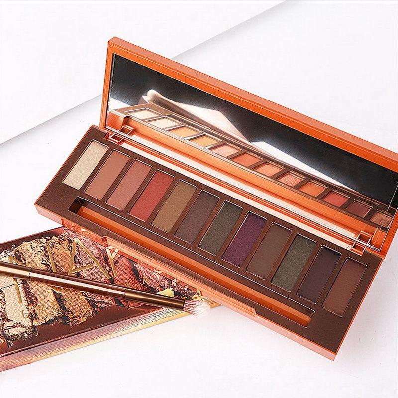 Myg Heat Eyeshadow Palette 12 Kolor Eyeshadow z szklanym lustrem i szczotką Matte Satyna Łatwa do noszenia Makeup Paleta Eyeshadow
