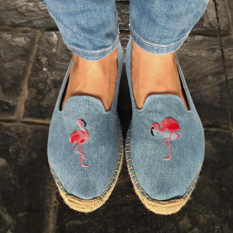 20 femmes chaussures espadrille Broder pantoufles confortables dames Chaussures femmes Casual Respirant lin chanvre toile bleu Flamingo 200924