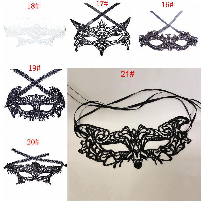 Negro Señora atractiva del cordón de la máscara de ojo hueco máscaras de disfraces de lujo del traje de Halloween del partido de Mardi veneciana 21 Estilos Dbc Dh1350