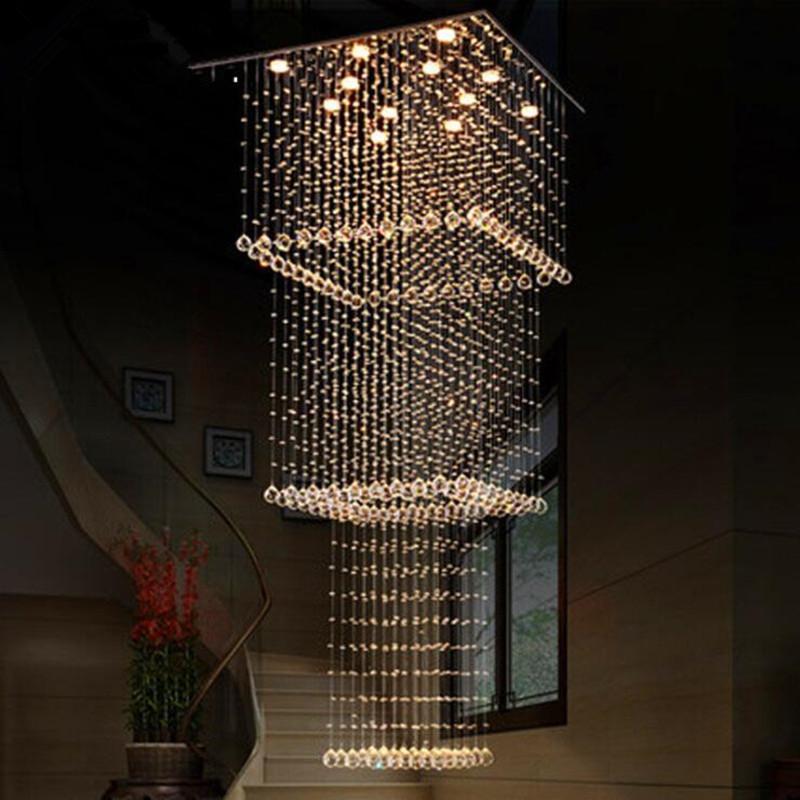 Cgjxs moderne Lustre en cristal lustres contemporain Lumières Place escalier suspendu Luminaire pour Salon Hall d'entrée Escalier