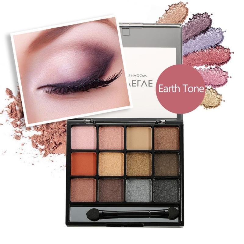 Lidschatten-Palette 12 Schatten Farben Warme Farbe rauchigen Make-up Make-up Scheibe perligen mamulti-Farbe Lidschatten Tablett paleta de sombra