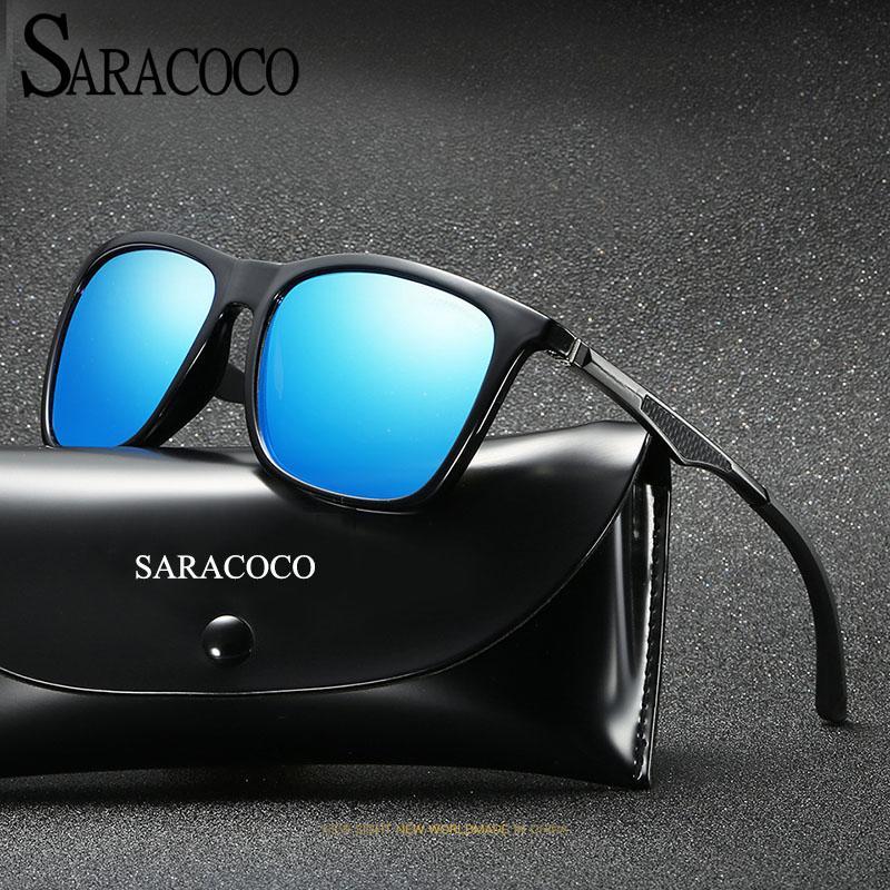 Marka Retro Gözlük Güneş Gözlüğü Alüminyum + TR90 Aksesuarları Polarize Lens Vintage Güneş CO27 Saracoco Gözlük Erkekler / Kadınlar Unisex MIPMG