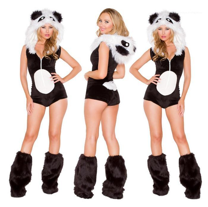 Sleeveless Sexy Night Club Cosplay Costume Cute Womens Jumpsuit Cosplay Clothing Black and White Leopard Panda Animal Costume