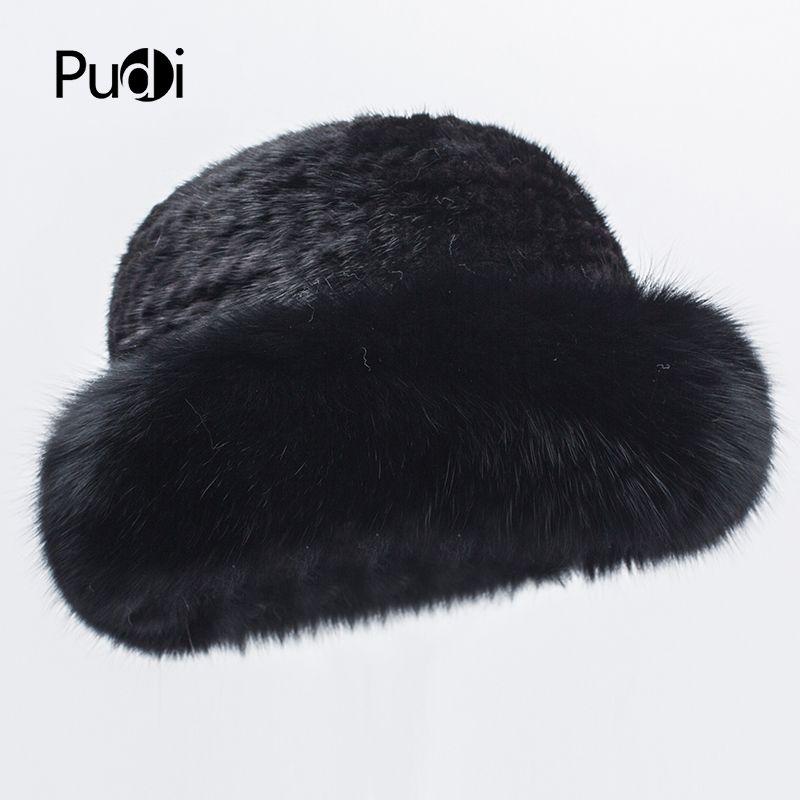 Pudi HF7035 Frauen Hut Pelzmütze weiblich Winter warm natürliche Beanies Pelz