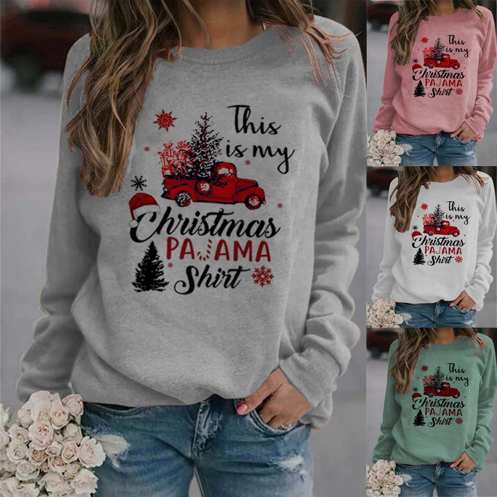 2020 neuer Herbst-Frauen-Sweatshirts Weihnachten der heißen Verkaufsfrauen Pullover Weihnachtsbrief Auto Baum Rundhals Raglan Langarm-Pullover drucken