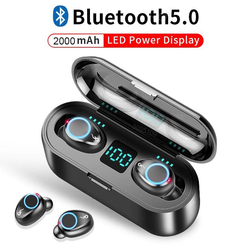 auscultadores sem fios Bluetooth 5.0 Touch Control Sports Correndo Auto emparelhamento fone de ouvido com dupla Mic Fone de ouvido