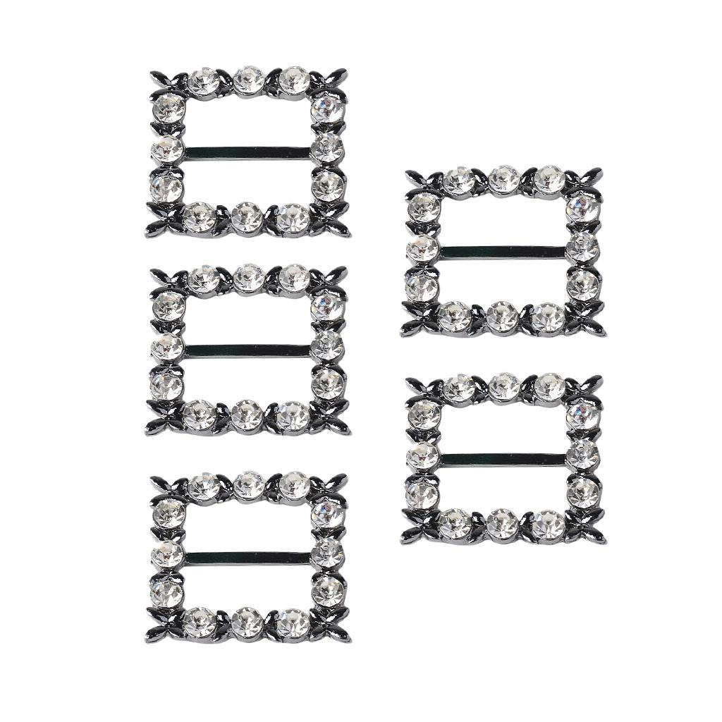 5 Stück 35mm quadratische Form Legierung Strass Kristall Schnalle Band Slider für Hochzeit Einladung Dekoration