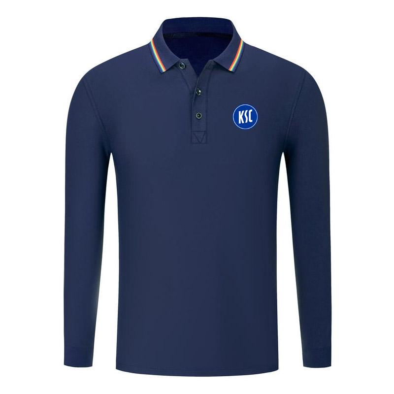 karlsruher nuovo caduta moda manica lunga cotone polo polo golf manica lunga converta camicia sport slim fit business polo calcio polo