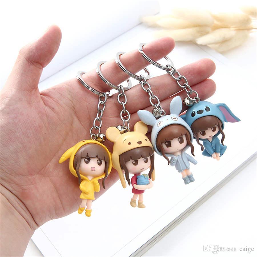 Schöne Mädchenfiguren bikachu Bärenschutzkappe Schlüsselanhänger Beutel Anhänger Baby Kinder Action-Figur Spielzeug 4 Stück / Set