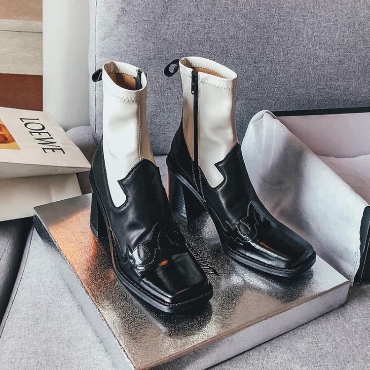 2020 kış yeni Avrupa ve Amerikan moda kare ayak kısa botlar sıcak tarzı renk eşleştirme yüksek topuk bayan ayakkabı 002