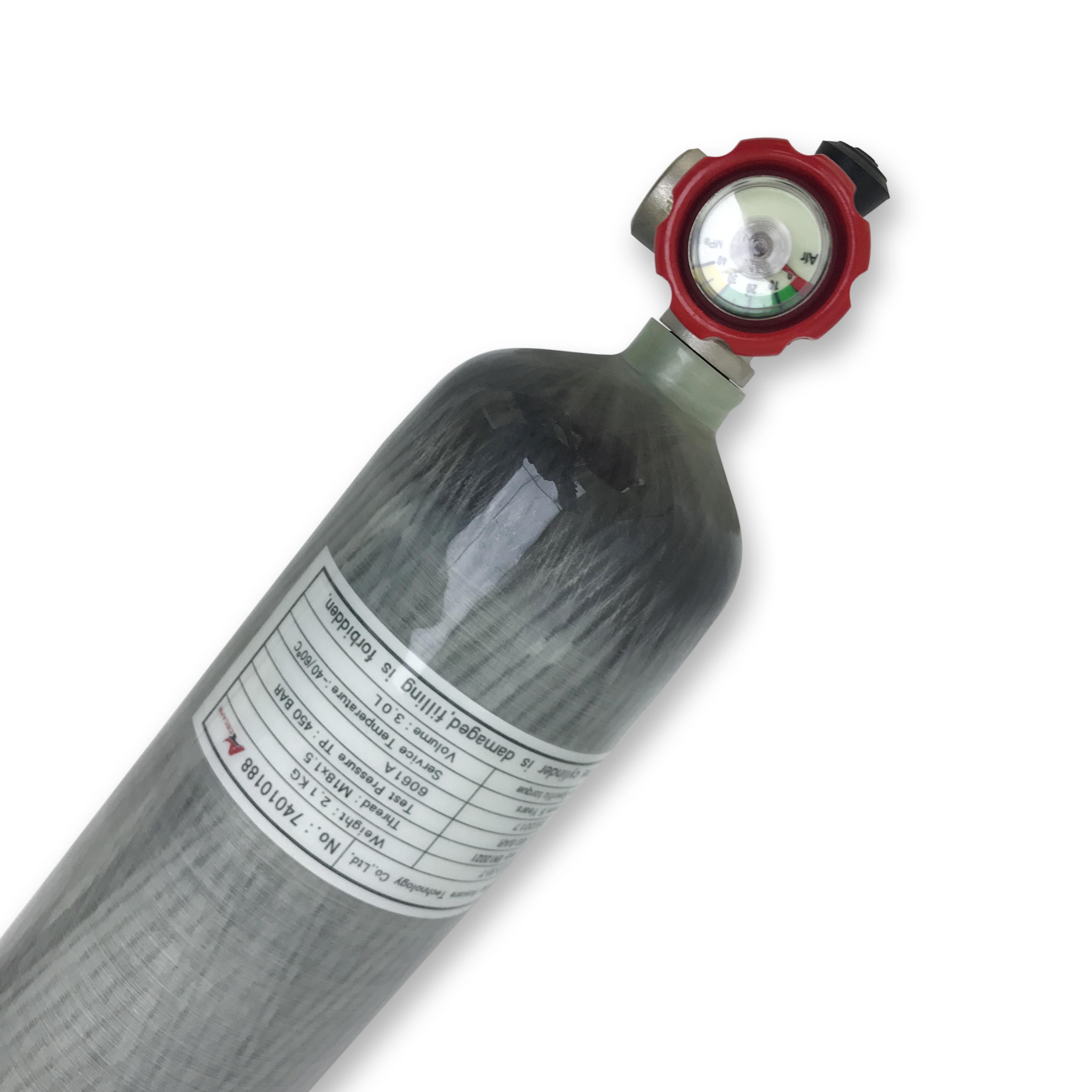Relleno AC10311 Acecare de China de aire comprimido del cilindro CE 3L 30 MPa 4500psi fibra de carbono buceo con tanque SCBA Cilindro Cilindro de gas con válvula de la PCP