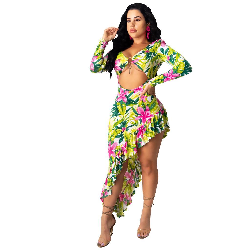 Floral Sexy cuello en V para mujer vestidos irregular ocasional Longitud de manga larga de la playa del verano caliente Venta vestido de las mujeres