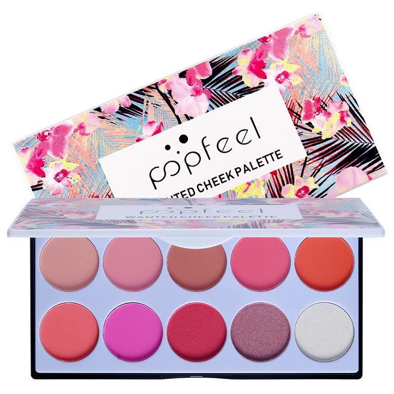 POPFEEL rosada dulce de 10 colores se ruboriza paleta desnuda de resaltado natural fácil de llevar la belleza del maquillaje mate Blush