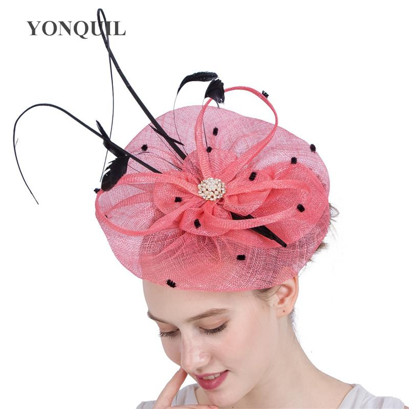 Высочайшее качество Sinamay Royal Ascot дерби Шляпы большие розовые чародей шляпы женщин партия свадьбы accassories волосы с страуса перо ободки SYF138
