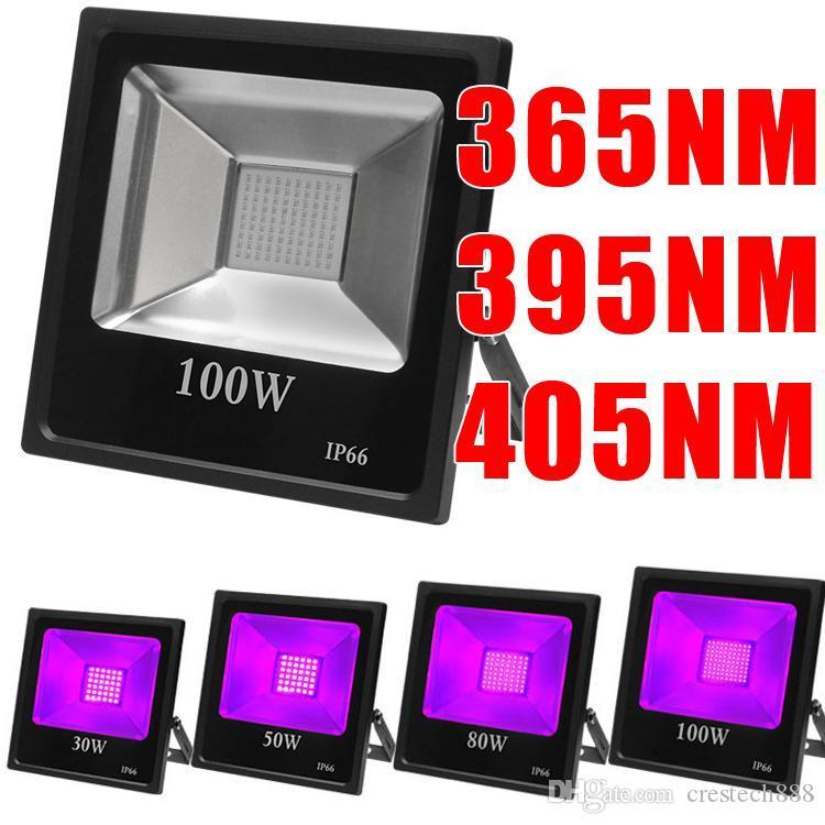 UV 365nm Floodlight Hought Yüksek Güçlü Sel Işık IP65-Su Geçirmez (85 V-265V AC) Cadılar Bayramı Blacklight Parti Neon Karanlık Doğum Günü Fedex için Glow