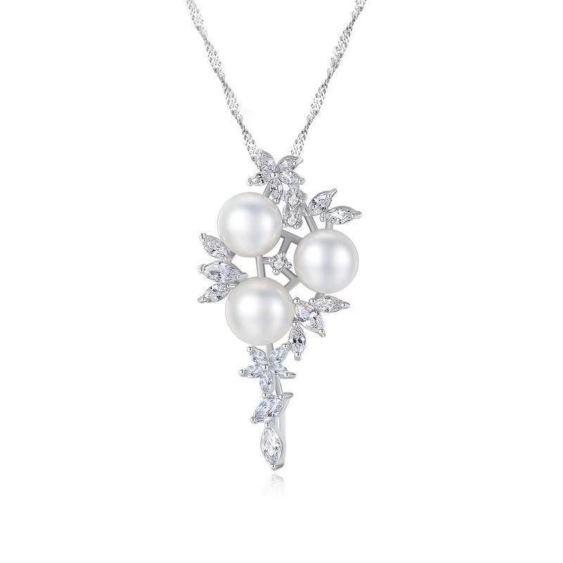 S925 pur pendentif perle d'eau douce naturelle collier en argent clavicule bijoux sautoir fin