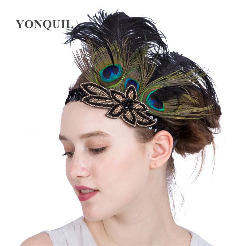 New Arrival Multi-Colors Peacock Pióra Akcesoria Do Włosów Czarny Cekin Pałąk Party Headpiece Kobiety Flapper Feather Opaski SYF179