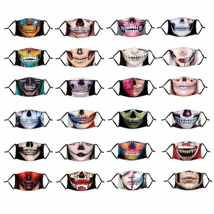Maske neue Halloween Printed Schädel-Maske Die Hälfte Gesicht des Terrors Gesichtsmaske mit waschbaren staub- massk Designer Masken T2I51426