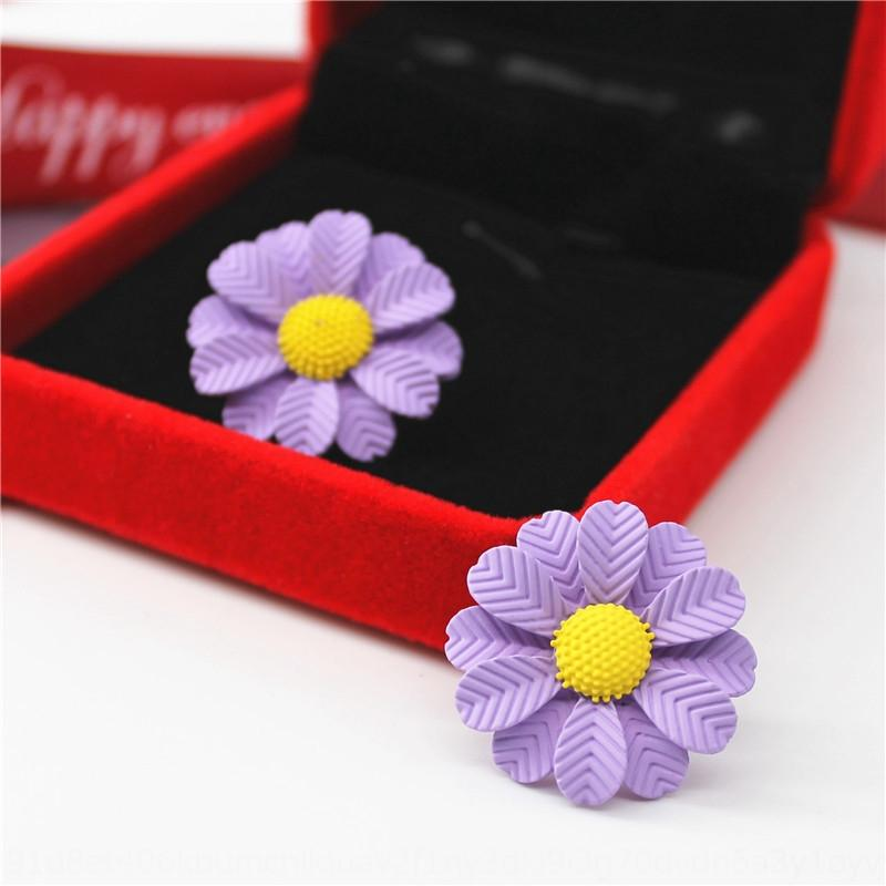 LumNV 925 aiguilles en argent de la mode street style hippie Mori fleur de marguerite élégante et boucles d'oreilles à la mode boucles d'oreilles de femmes
