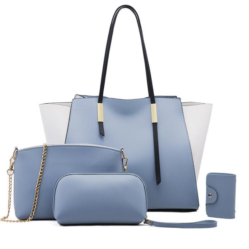 Fashion Handbags Patchwork Women Large Bags Tassel Purses Shoulderbag Sets 4 Pieces Bags Composite Clutch Female Bolsa Feminina