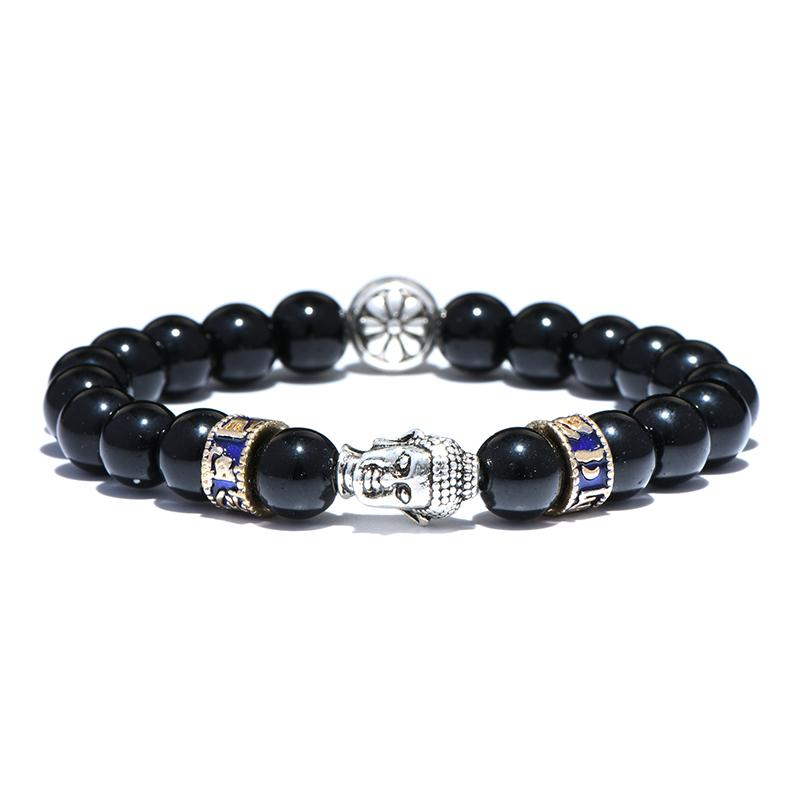 Trendy 8mm Obsidian Beads Bracelet Men Vintage Gold Silver Color Buddha Braslet For Male Tiger eyes Braclet Pulsera Masculina