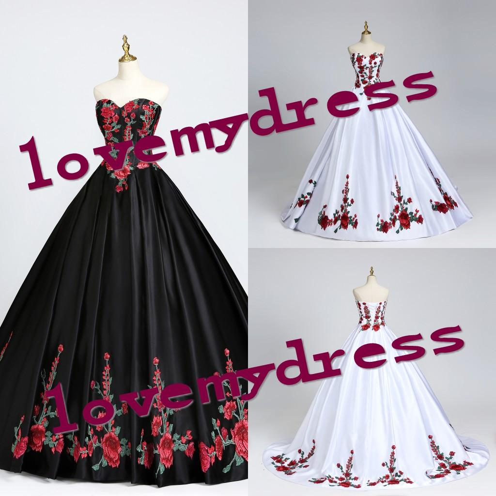 Vintage Floral Lace Mexican Quinceanera Dresses Theme Strapless Lace-up Charro Sweet 16 Dress Prom Ball Gowns Dresses For Formal Women