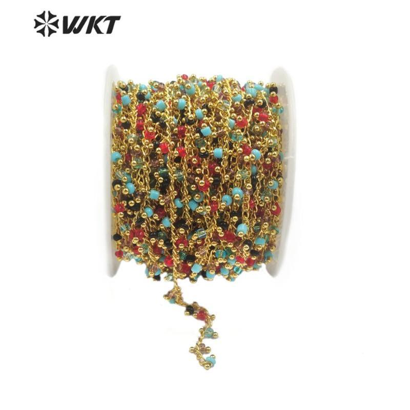 WT-RBC124 pietra naturale Catena 3 millimetri blu catena di perline di pietra rossa con oro elettrolitico Rosario per monili che fanno