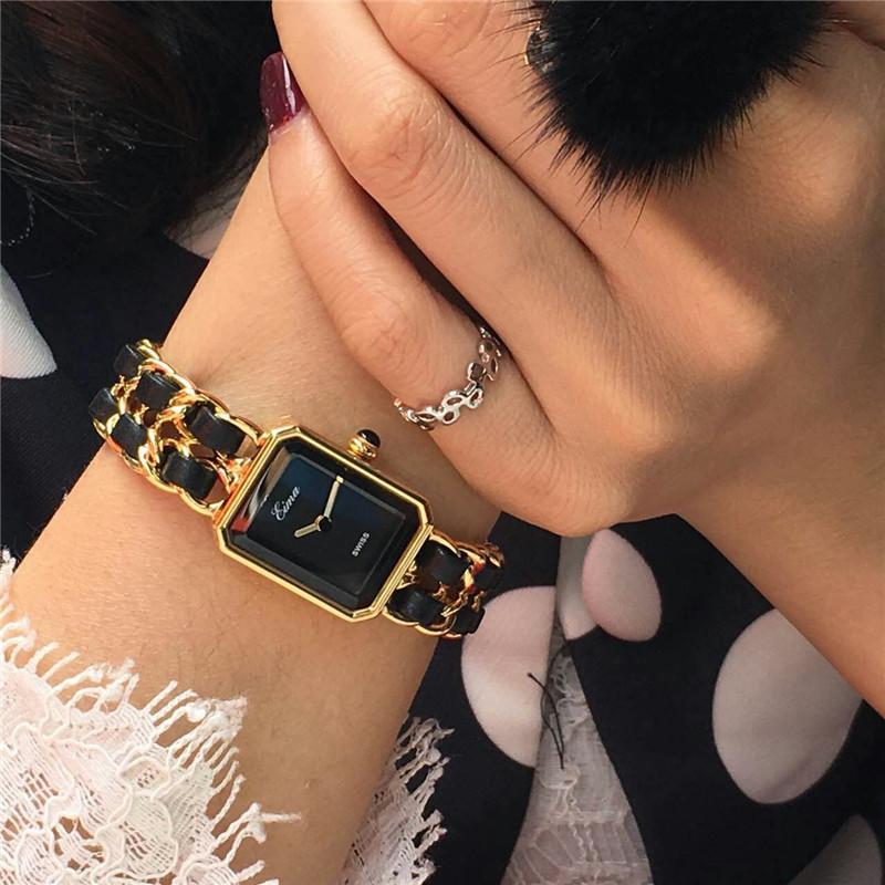 2020New Arrivée Or Montre Femme Montre habillée de luxe de la chaîne en acier inoxydable avec bracelet en cuir Lady Mode Quartz Montre-Bracelet pour Lady cadeau