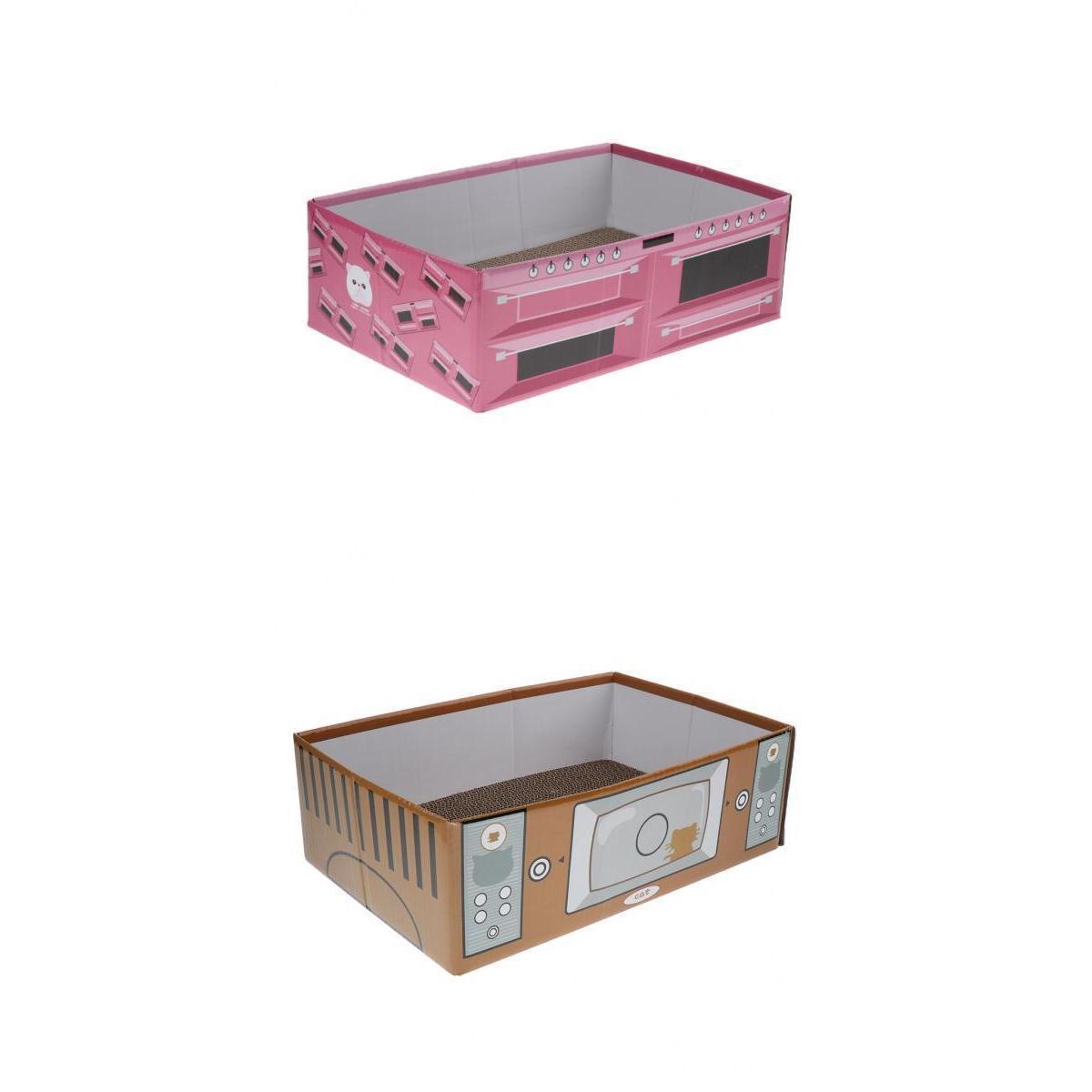 2 pièces Cat Pet Corrugated Scratcher Griffoir Canapé planche Lit Mat avec cataire Jouer Couché Scratching Brown / Rose
