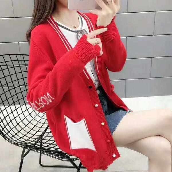 mIMhv 2019 femmes manteaux de femmes pull étudiants d'hiver style coréen nouvelle minceur manteau lâche chandail automne style occidental cardigan tricoté