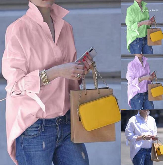 Couleur Femmes Designer Mode Chemises à manches longues cou Blouses Lapel en vrac Casual Shirt Femme Vêtements solide