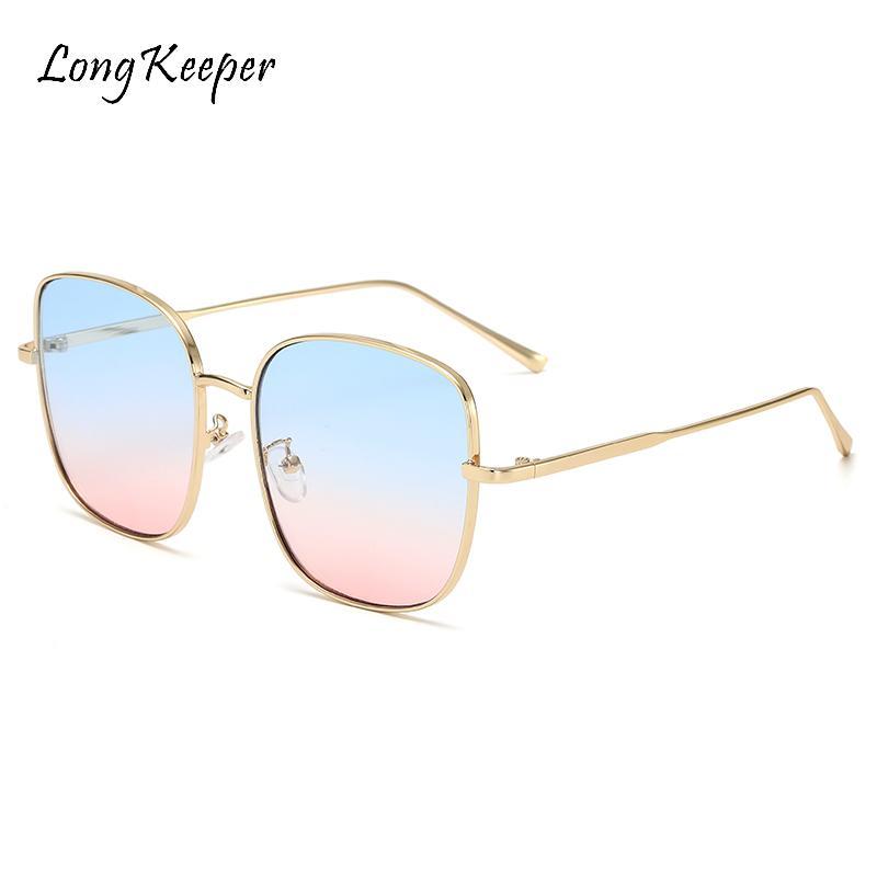 Übergroße Rahmen Womens UV400 Gläser 2020 Quadratische Linse Metall Sonnenbrille Tönungen Sonnenbrille Vintage Eyewear Frauen Meeresgläser Ruwcs