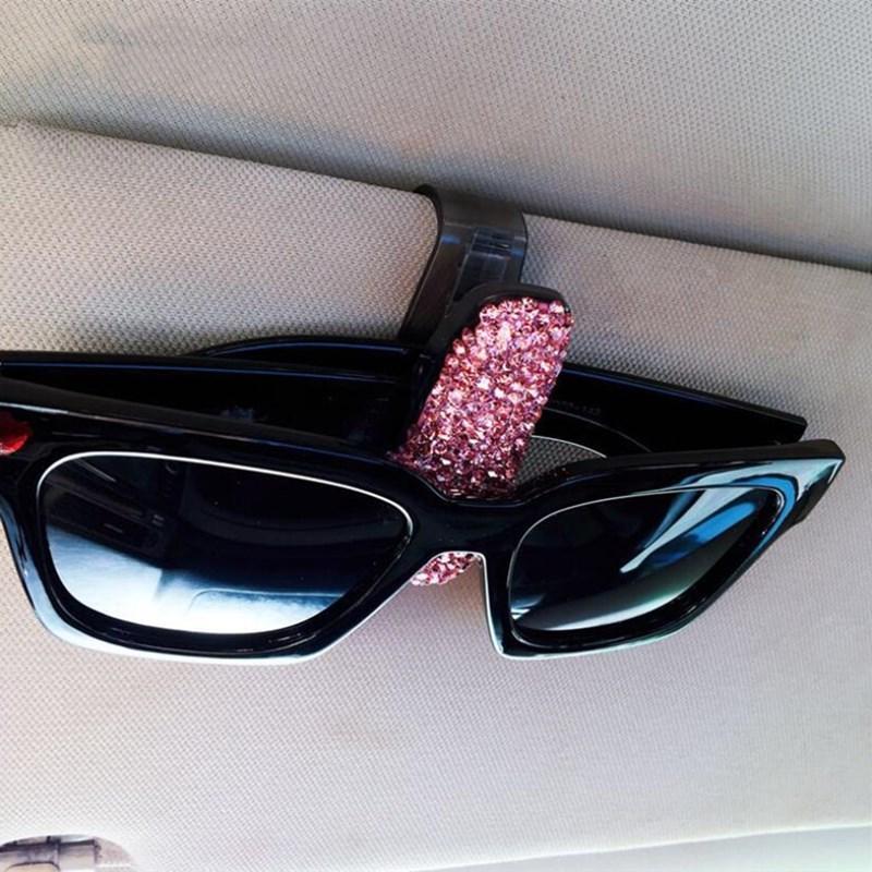 Bling bling di alta qualità Auto rotazione occhiali Car Holder, titolare della carta di Bill del supporto di diamante di vetro visiera della clip