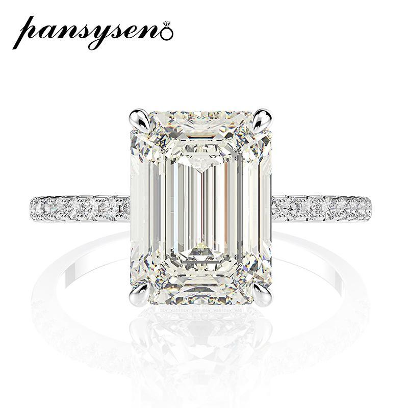 PANSYSEN sólido prata esterlina 925 8x11MM Criado Moissanite anéis nupciais Wedding Engagement Jóias finas atacado Dropshipping