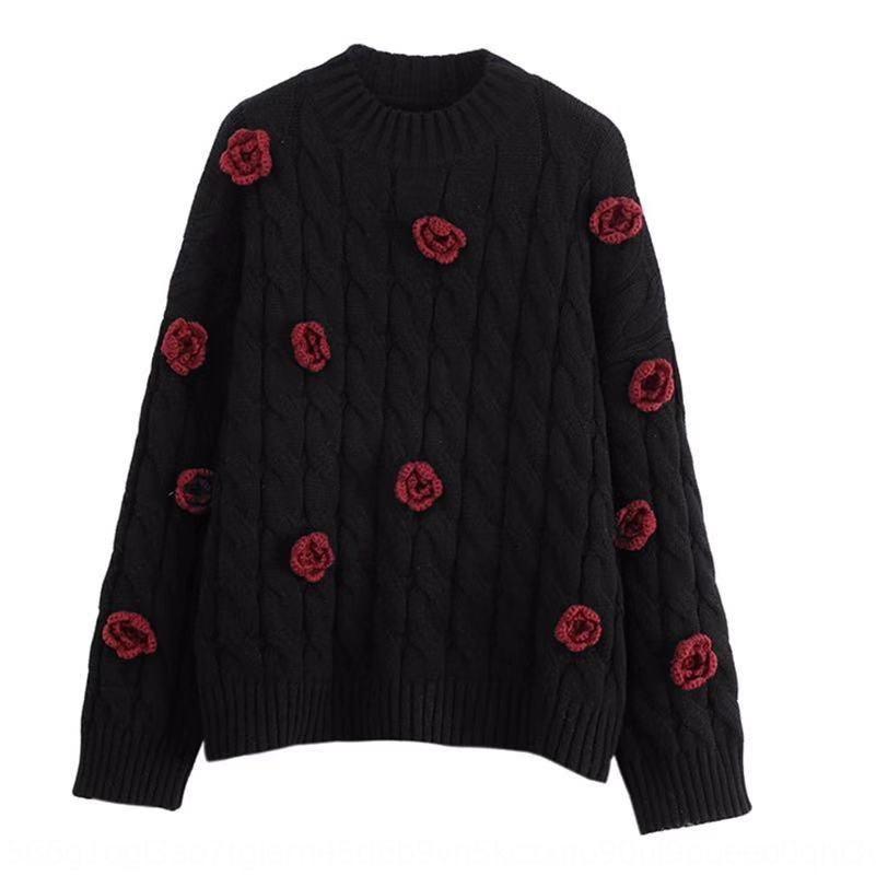 indústria pesada vermelho artesanal subiu crochet das mulheres Outono 2020 desgaste solta exterior cardigan de malha Top Sweater Top Coat camisola engrossado e9f0K