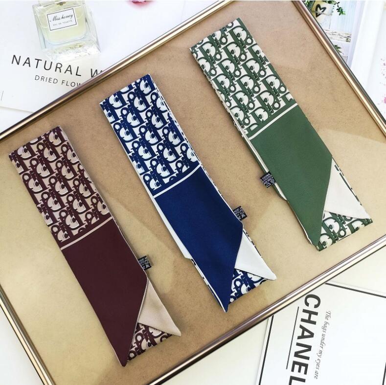 2021 Designer sciarpa di seta fascia sciarpa di modo di lusso Marchi sciarpa Fasce Donne Seta Pattern, grado superiore silenziatore di seta per capelli 100 * 5cm