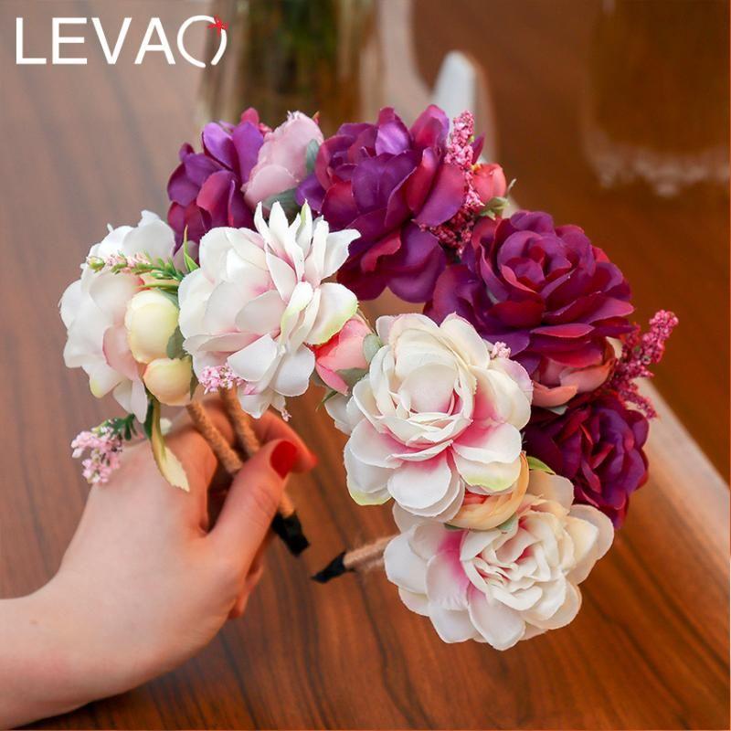 LEVAO mariage Lady Floral Hairband Multicolor Grande Couronne de Fleur Bandeau de demoiselle d'honneur de mariée Couronne de fille Aaccessories cheveux
