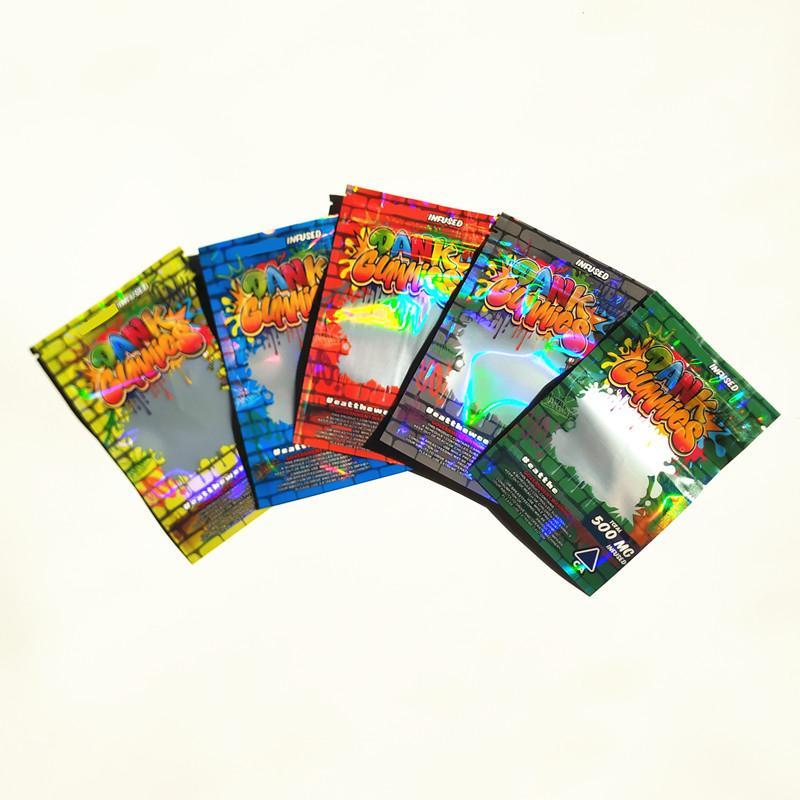 New Hologram Dank Gummies Bag 500MG 710 Одиночные Отомеет запах Упаковки Майлара Упаковка для сухой травы цветы