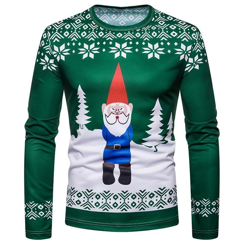 남자 티셔츠 2021 가을 재미있는 크리스마스 티셔츠 인쇄 탑스 남성 긴 소매 티셔츠 라운드 넥 동물 무늬 의류 셔츠