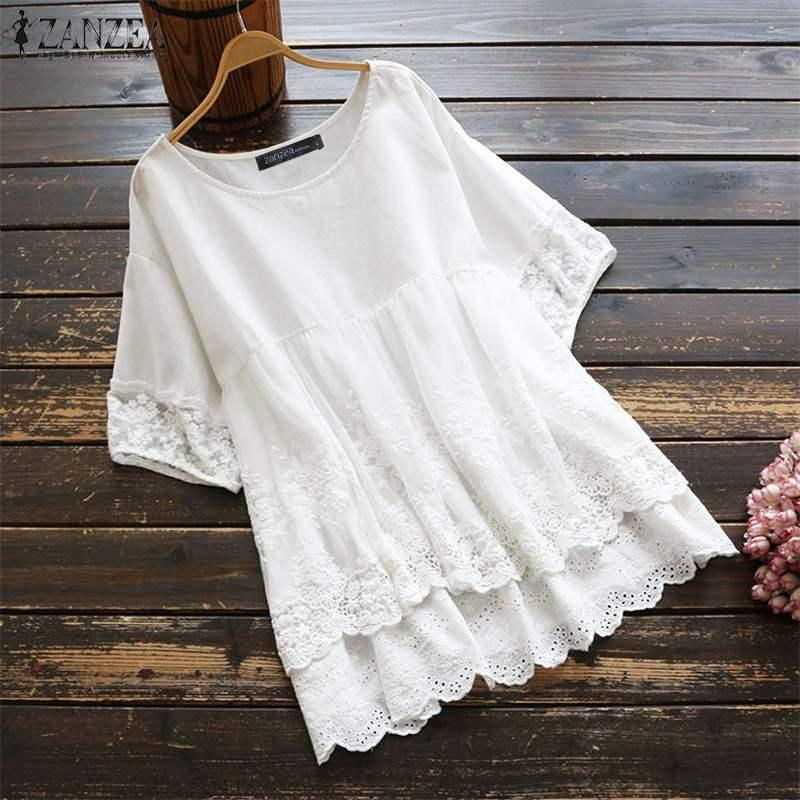 Summer Lace Blouse ZANZEA Casual Solid Hollow Patchwork Shirt Fashion Women Short Sleeve Cotton Pleated Tunic Tops Female Blusas