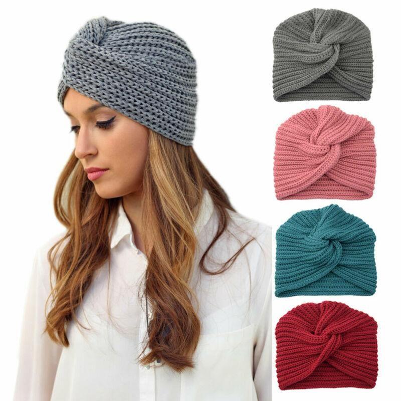 Mulheres inverno quente malha Turban Cruz Torça Enrole Cap Cabelo Beanie Hat Malha Baggy Gorros 3FS