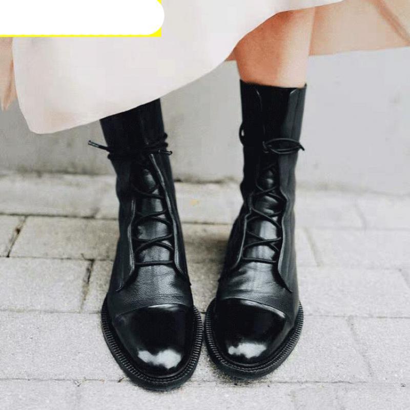 Женщины Разминка Ботильоны вскользь Узелок Женщины платформы обувь женская Гладиатор Короткие Botas Мода Шитье Обувь зима Осень