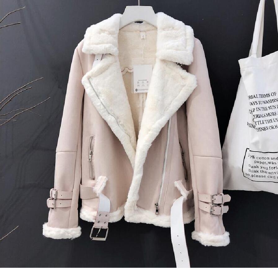 Inverno Suede agnelli lana giacca femminile alta Streetwear casuale più Cashmere addensare Warm manica lunga pelliccia pelle scamosciata cappotti merci T200915 gratis