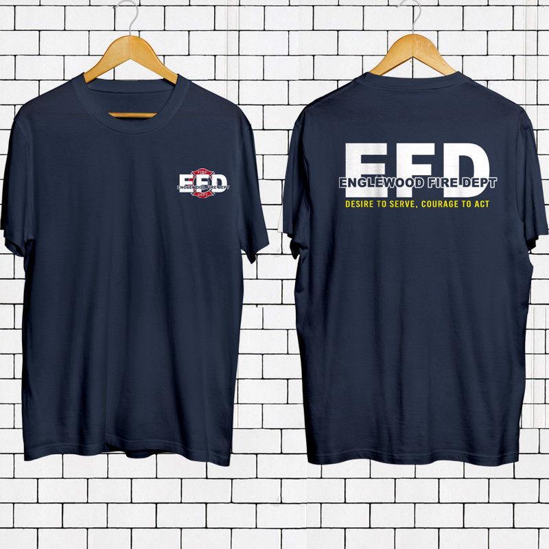 Maglietta 2019 Moda EFD Englewood Fuoco Dept Vigile del fuoco Servizio Navy maglietta