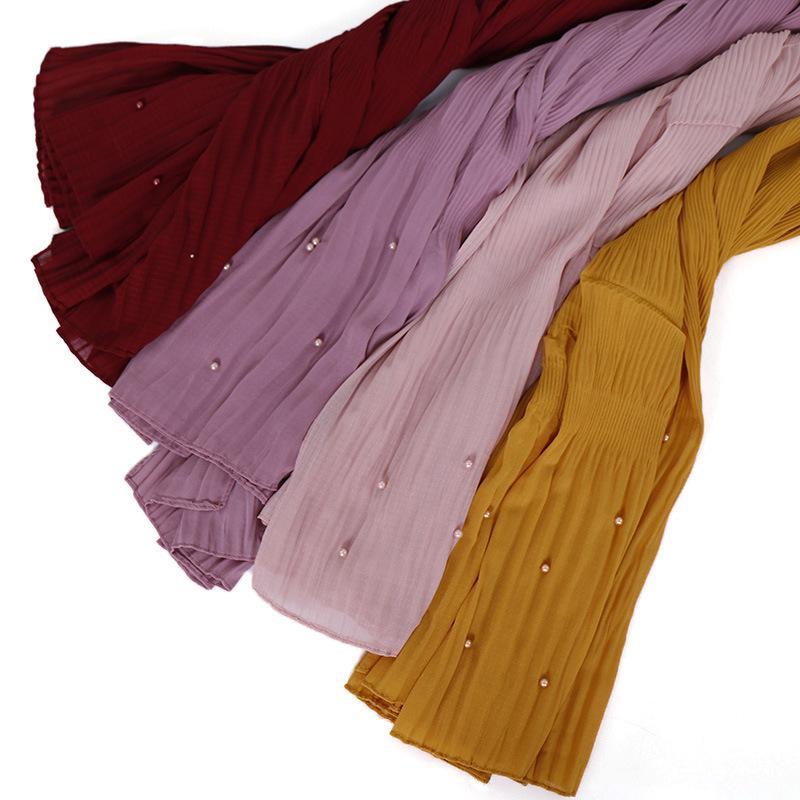 La nouvelle robe de rayures de la mousseline de soie perles Malaisie Indonésie En Indonésie Écharpe à tête croisée YW97